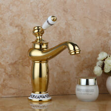 Bathroom Ceramics Handle Vessel Basin Tap Gold Plated Sink Mixer Water Faucet