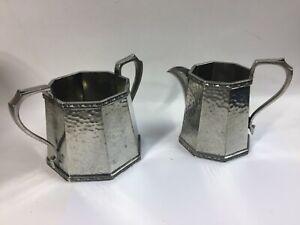 Vintage Sheffield England Craftsman Hammer Pewter Sugar Bowl & Creamer Set
