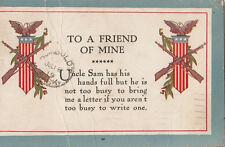 "WW1 period 1919 USA of America postcard ""To a Friend of Mine"" patriotic Canada"