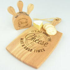 Personalised Engraved Paddle Serving Chopping Board + BONUS 3 Knife Cheese Set