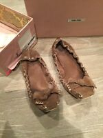 Miu Miu Scrunch Ballet Flats Driving Shoes US 8 38 Suede Leather Brown Italy