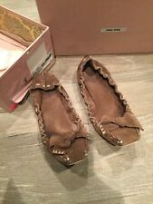 Miu Miu IT Scrunch Ballet Flats Driving Shoes US 8 38 Suede Leather Brown Italy