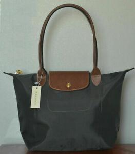 Auth New Longchamp New Le Pliage Nylon Tote Handbag Grey Large