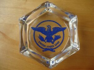 U.S.LINES S.S UNITED STATES  Ship Glass Crystal Dish/Tray - Purchased on Board