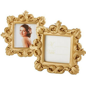 Small Golden Square Resin Photo Picture Frame Wedding Home Table Art Ornament