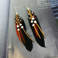 Tassel Dangling Earrings Feather Leather Beads Earrings Indian Feathers Pip UK