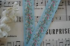 1y VINTAGE SHABBY BLUE PINK FLOWERS JACQUARD RIBBON TRIM ANTIQUE FRENCH DOLL HAT