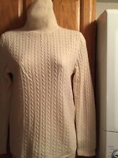 Lord&Taylor-S/P 30% Cashmere Blend, T Neck Cable Stitch Sweater, Ivory, Nice!