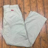 Dickies Womens 16 Regular Relaxed Straight Chino Pants Beige Flat Front Stretch
