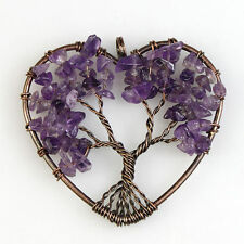 Natural Amethyst Chip Beads Tree of Life Reiki Chakra Copper Heart Pendant