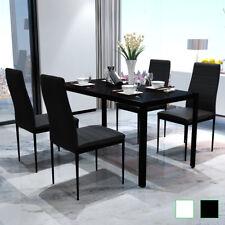 vidaXL Set Tavolo da Pranzo e Sedie Cucina Sala 5 pz Nero/Nero e Bianco