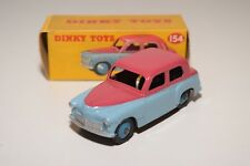 DINKY TOYS 154 HILLMAN MINX SALOON TWO TONE BLUE CERISE NEAR MINT BOXED RARE