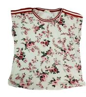 Love J Womens size 1X Floral Stripe Top Blouse Stretch Pink White Short Sleeve