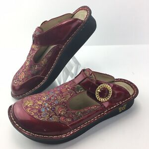 Alegria Women's ALG-395 Red Patent Leather Floral Classic Clogs EURO 41 /US 10.5