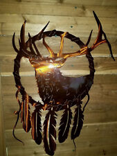 ELK with feathers Metal sign  Decor Wall Art   hand made