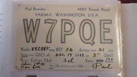 OLD VINTAGE QSL HAM RADIO CARD POSTCARD, YAKIMA WASHINGTON 1959
