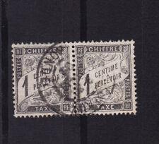 timbre France TAXE   Duval   1c  noir     num: 10   oblitéré paire