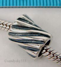 1x STERLING SILVER EUROPEAN WAVE ROUND TUBE BRACELET CHARM BEAD #1560