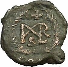 MARCIAN 450AD Ancient Genuine Rare Roman Coin Monogram within wreath  i39669