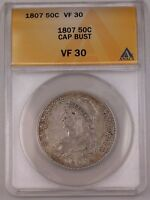 1807 Capped Bust Silver Half Dollar 50C Coin ANACS VF-30