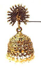 Peacock Golden Oxidized Earring Jhumka Bali Drop Dangle Long Pushback Jewelry 54
