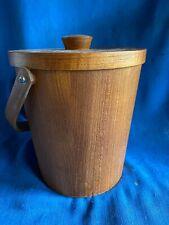 Vintage Mid Century Modern Teak Veneer Ice Bucket Danish Swedish Style Atomic