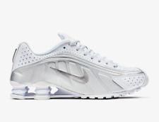 Nike Shox R4 White/Metallic Silver Mens Trainers  Reflective Sneakers All sizes