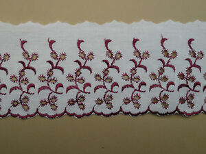 """5 METRES - Premium Cream and Burgundy Broderie Anglaise Lace Trim 3.5""""/9cm"""