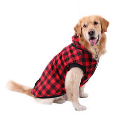 Large Pet Dog Plaid Padded Coat Thick Winter Fleece Jacket Sweater Clothes Red 3xl