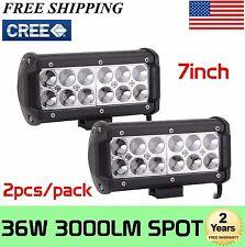 2x 7INCH 36W SPOT CREE LED WORK LIGHT BAR OFFROAD ATV FOG TRUCK 4WD 12V VS FLOOD
