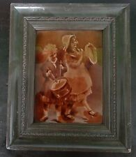 ANTIQUE AMAZING RELIEF FRAMED TILE CHILDREN BOY and GIRL DRUM PLAYING
