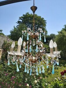 Antique french chandelier, Brass And Turquoise Opaline Glass C.1890