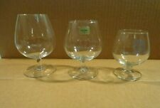 """Three Clear Snifter Glasses Goblets Footed 5"""", 4.25"""" & 3.75"""" 1 with store logo"""