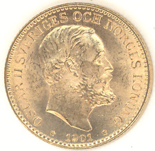 Sweden 10 Kronor 1901 EB OSCAR II Choice Brilliant Uncirculated gold