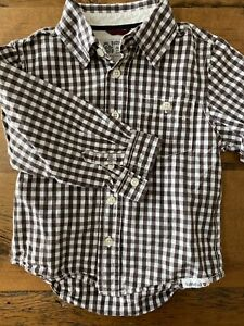 Baby Gap Boys Size 4T Brown & White Gingham Checked Button Front Cotton Shirt