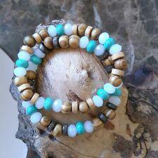 Womens Girls  Surfer  bracelet Friendship Wristband Tribal  wood