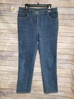 ST. JOHN CAVIAR Women Wide Leg Denim Pant Jean Size 10
