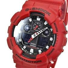 ORIGINAL Casio Sport G SHOCK Mens Analog-Digital Red Watch GA-100B-4AER