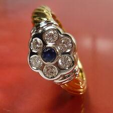 18K 750er Brillanten Saphir Ring GOLD Gelbgold Weißgold 57 (18,1 mm Ø) 0,49 ct