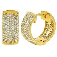 18k Gold Plated Clear CZ Pave Wide Huggie Hoop Womens Earrings 14mm