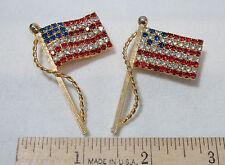 Vtg Rhinestone American Flag Brooch Pin Patriotic Red White Blue Gold Tone 2 Lot
