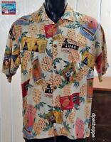 Joe Kealoha's Hawaiian Endless Summer Pineapple S/S Button Front Rayon Shirt LG