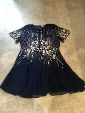 Asos Navy Blue Chiffon Short Sleeve Skater Dress 22 24 Sequin Embellished Floral