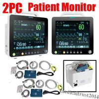 "2pc Portable Medical 12"" Vital Signs ICU Patient Monitor ECG NIBP RESP SPO2 TEMP"