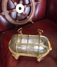 Lampada stile marina tartaruga in ottone lucido e vetro plafoniera navale ovale