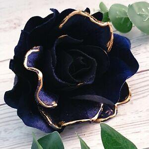 Deep Blue Velvet Rose Christmas Tree Decoration Flower On Clip Navy Blue
