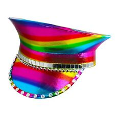Rainbow Pride Holographic Military Studded Festival Captain Hat Accessory Nwt