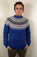 VTG MENS CHUNKY WOOL NORWEGIAN SNOWFLAKE KNITWEAR  SWEATER JUMPER S
