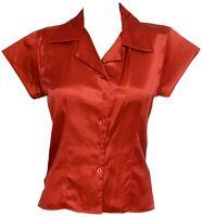 Ladies New Satin Look Shirt Top Coral Red Cap Sleeves FAST UK SELLER