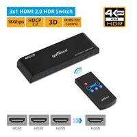 gofanco HDR HDMI 2.0 Switch (3-Port) with IR Remote – 4K @60Hz (HDRswitch3P)